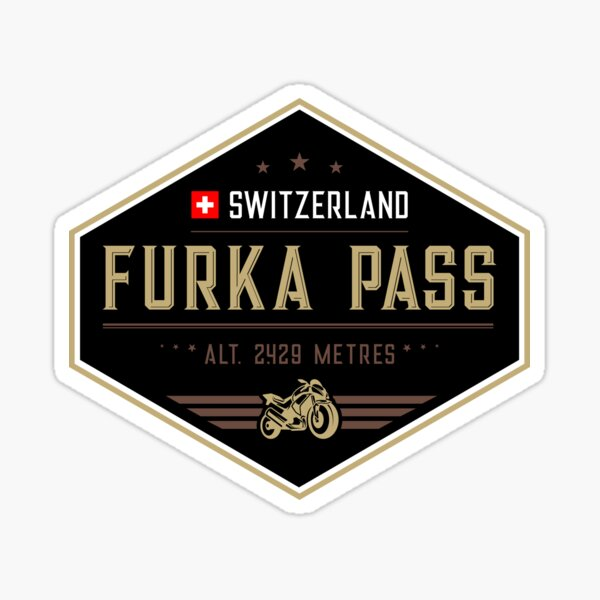 Furka Pass Switzerland 01 Motorcycle T-Shirt + Sticker Sticker