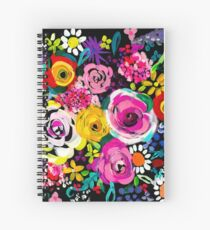 Les Fleurs Vibrant Floral Painting Print Spiral Notebook