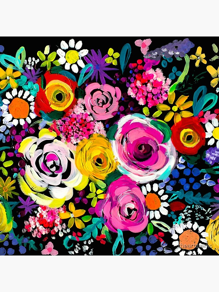 Les Fleurs Vibrant Floral Painting Print by theartwerks