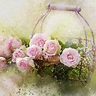 Basket of pink roses by tqueen