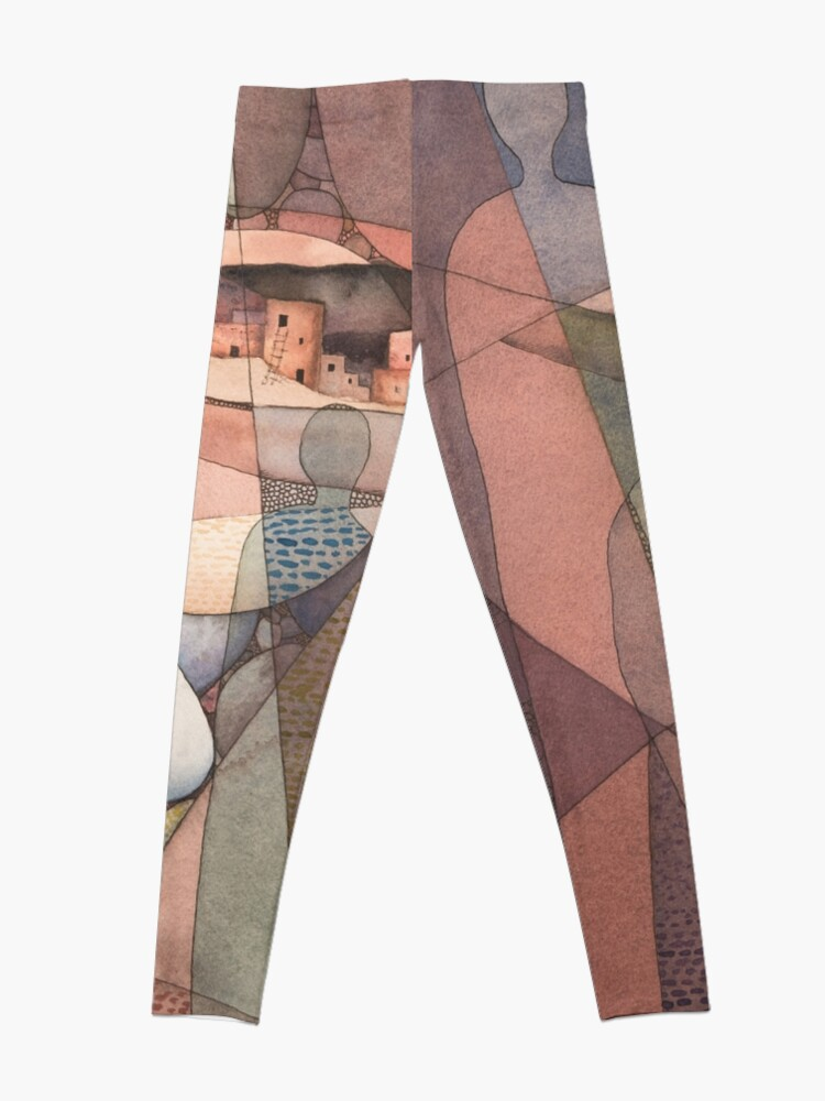 Alternate view of Canyon Dwellers Watercolor Painting Leggings