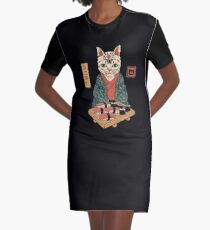 Neko Sushi Bar Graphic T-Shirt Dress