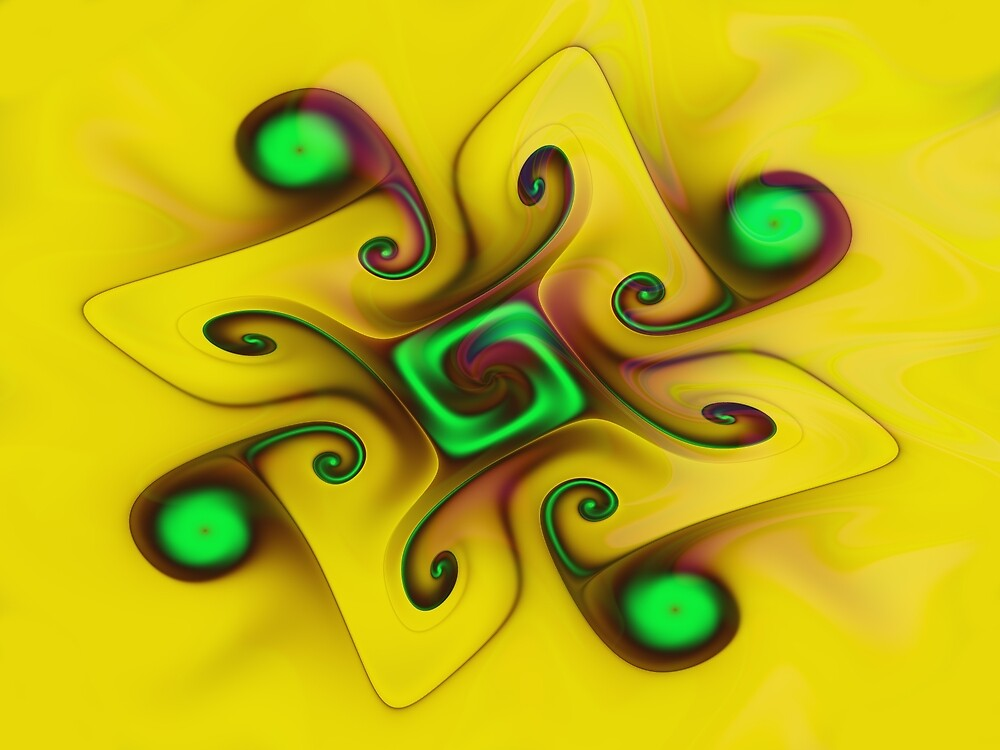 Yellow Gnarl Fractal Art by Vicky Brago-Mitchell