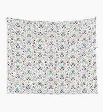 Geometric Birds and Flowers Tile Wall Tapestry