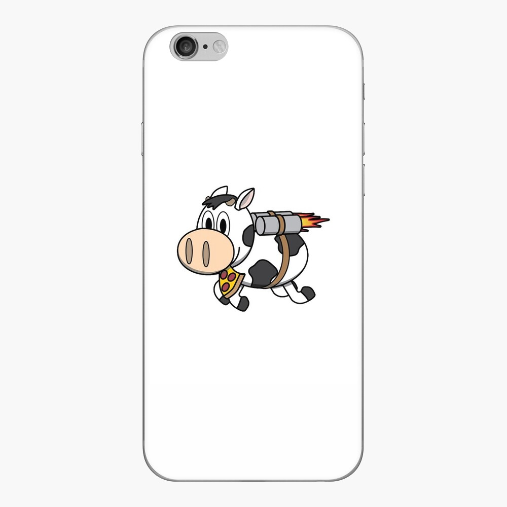 Cow Eating Pizza Wearing a Jetpack iPhone Skin