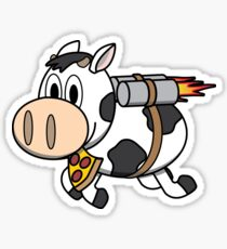 Cow Eating Pizza Wearing a Jetpack Sticker