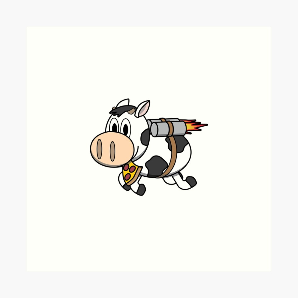 Cow Eating Pizza Wearing a Jetpack Art Print