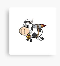 Cow Eating Pizza Wearing a Jetpack Canvas Print