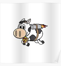 Cow Eating Pizza Wearing a Jetpack Poster