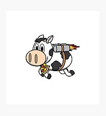 Cow Eating Pizza Wearing a Jetpack Photographic Print