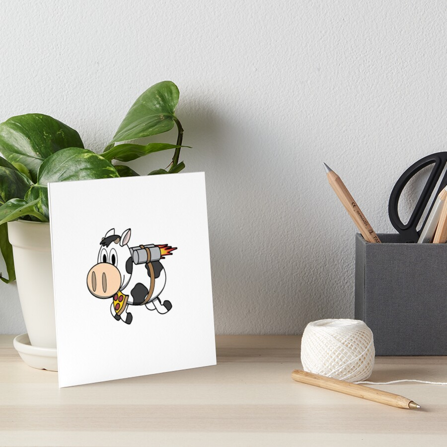 Cow Eating Pizza Wearing a Jetpack Art Board Print