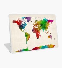 Watercolor Map of the World Map Laptop Skin
