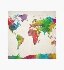 Pañuelo Mapa de acuarela del mapa mundial