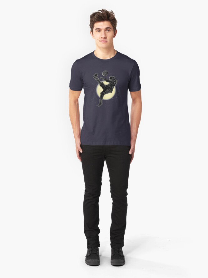 Alternate view of Space Soccer with the Moon Slim Fit T-Shirt