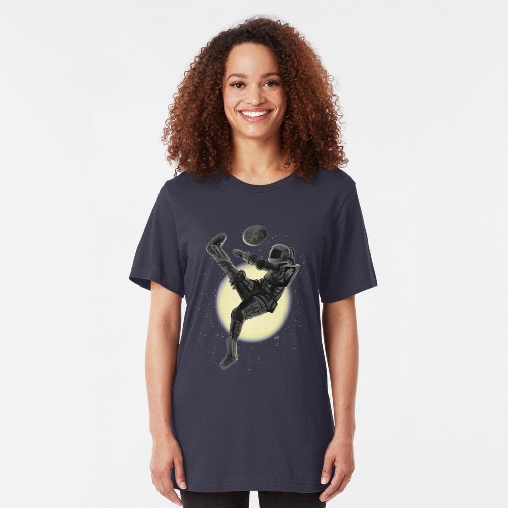 Space Soccer with the Moon Slim Fit T-Shirt