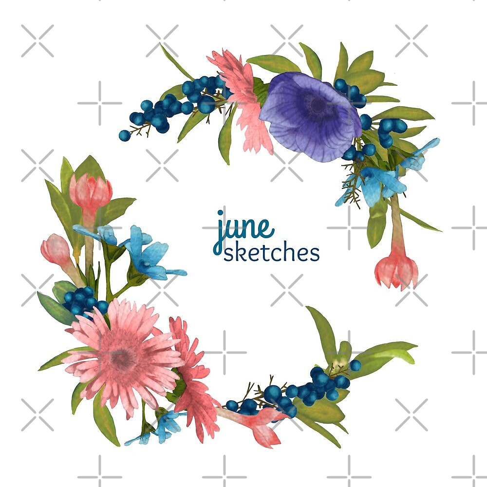 Digital Painting   Floral Wreath, Flower Wreath by junesketches