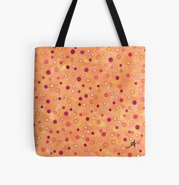 Watercolour Spots Red Amanya Design All Over Print Tote Bag