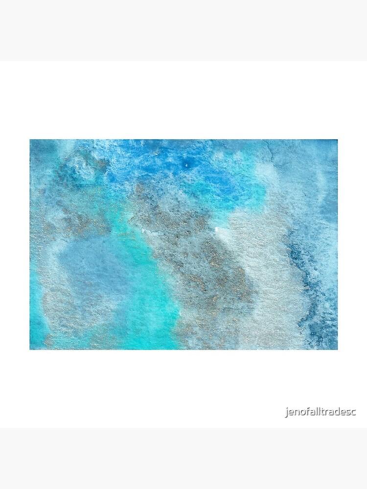 Small Blue Watercolor Bleed Painting by jenofalltradesc