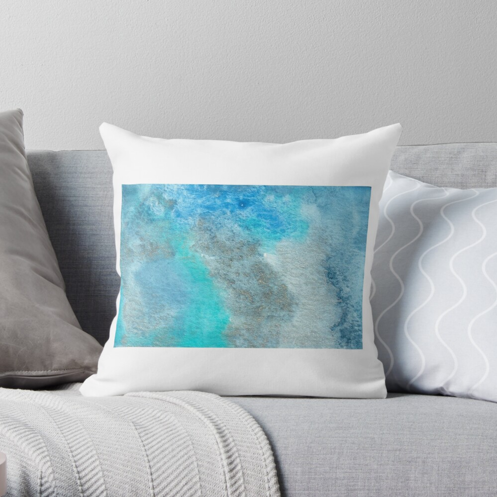 Small Blue Watercolor Bleed Painting Throw Pillow
