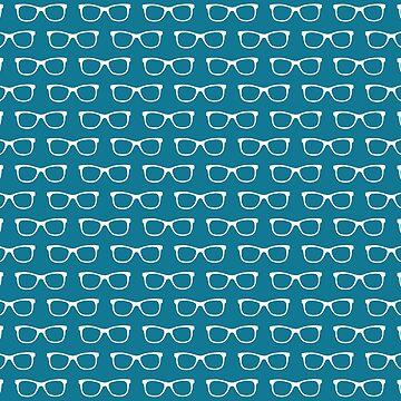 Teal Blue Eyeglasses Pattern by whimseydesigns