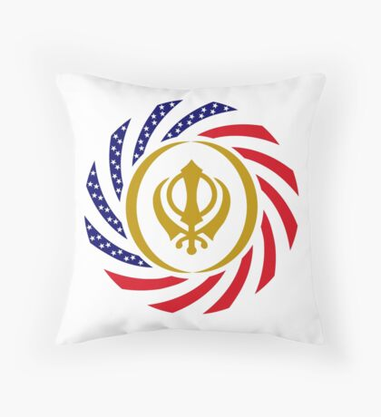 Sikh American Patriot Flag Series Throw Pillow