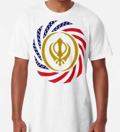 Sikh American Patriot Flag Series Long T-Shirt
