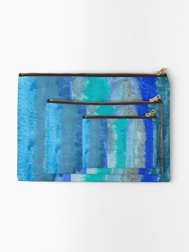 Alternate view of Large Watercolor Stripes digitized original watercolor painting Zipper Pouch