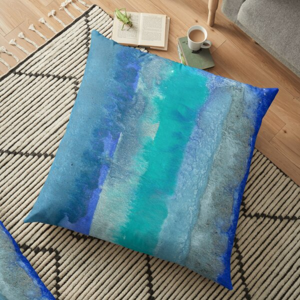 Large Watercolor Stripes digitized original watercolor painting Floor Pillow