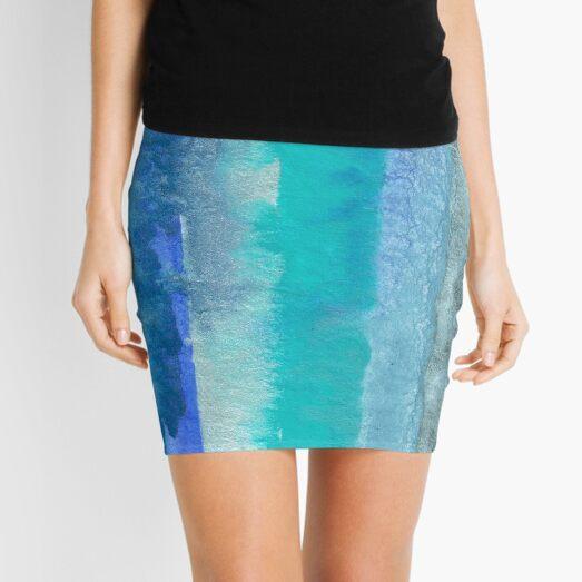 Large Watercolor Stripes digitized original watercolor painting Mini Skirt