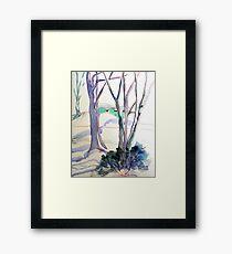 Snow scene with aqua house Framed Print