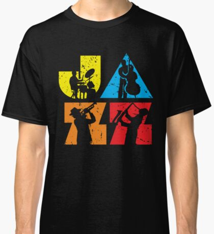 Funny Jazz Logotype with Musicians Silhouettes  Classic T-Shirt