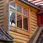 Reflections, Colors, and Angles - Bryggen Wharf - Bergen,Norway by Robert Kelch, M.D.