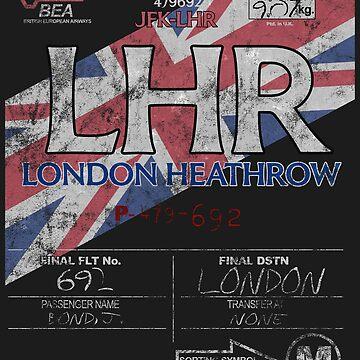 LHR London Heathrow International Airport Vintage Airline Tag Design by RealPilotDesign