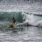 Surfer on a grey day - Rainbow Bay, Gold Coast. Australia by hans peðer alfreð olsen