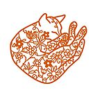 Sleeping Cat with Flowers Papercut by Nic Squirrell