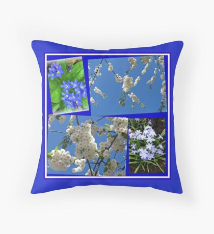 Schön Blau - Blüten und Blumen der Frühlings-Collage Dekokissen