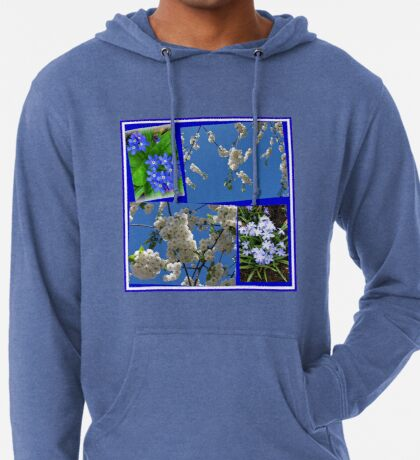 Schön Blau - Blüten und Blumen der Frühlings-Collage Leichter Hoodie