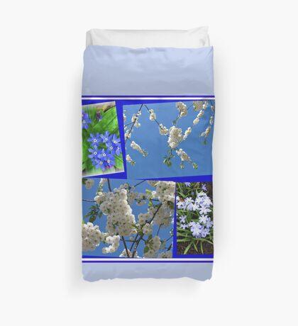 Schön Blau - Blüten und Blumen der Frühlings-Collage Bettbezug