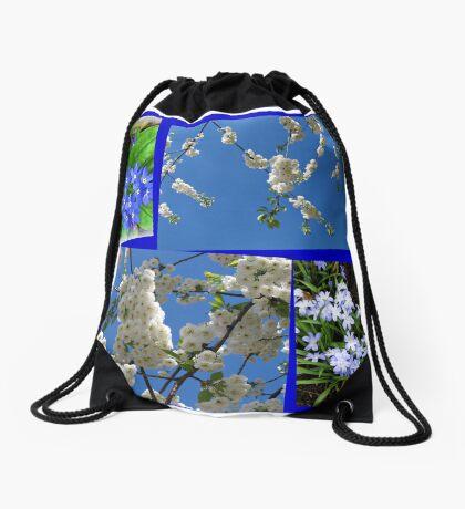 Schön Blau - Blüten und Blumen der Frühlings-Collage Turnbeutel