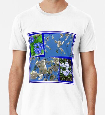Schön Blau - Blüten und Blumen der Frühlings-Collage Premium T-Shirt
