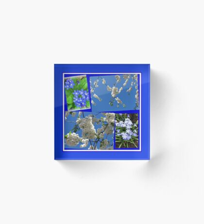 Schön Blau - Blüten und Blumen der Frühlings-Collage Acrylblock