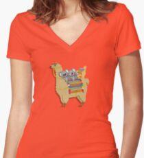 New llamma Koala design by Urbanhero  Women's Fitted V-Neck T-Shirt