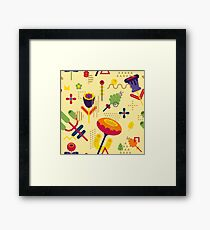 Flower geometric abstract seamless pattern. Composition 20 Framed Print