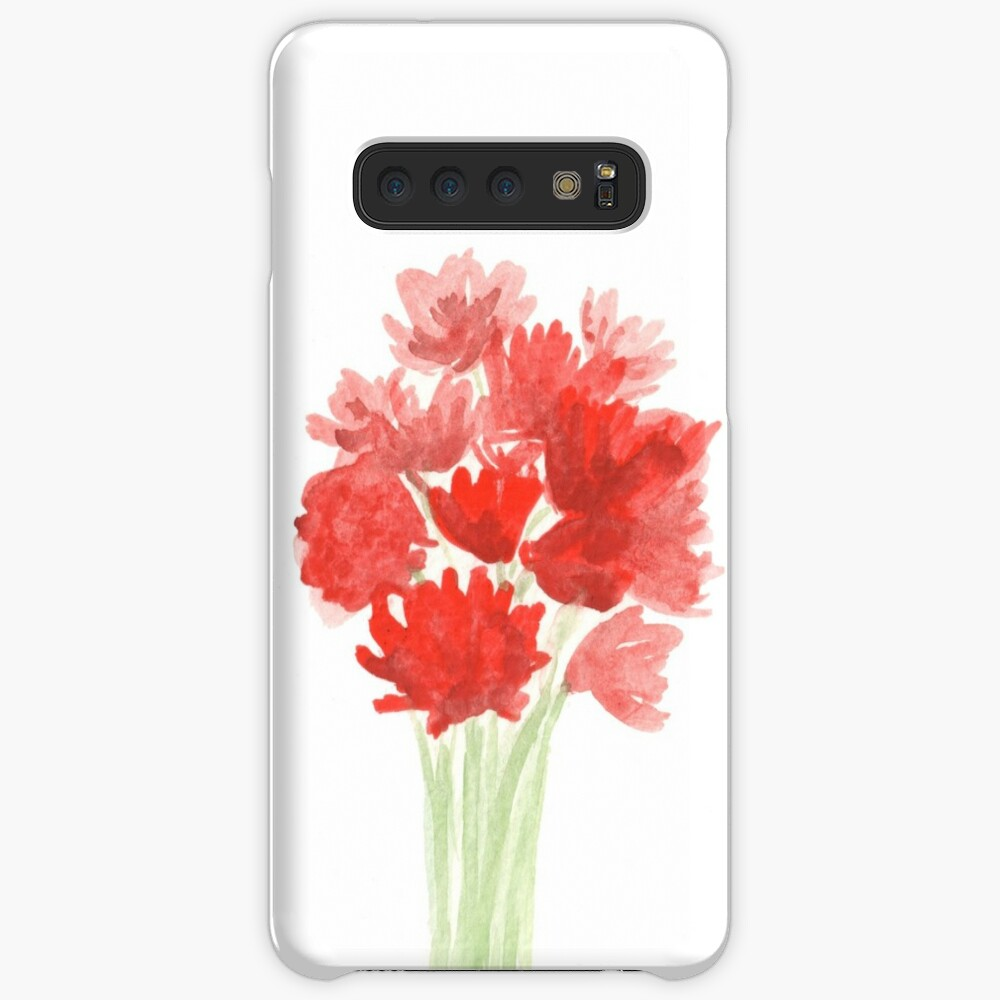 Red Azalea Flower Bouquet original watercolor painting Case & Skin for Samsung Galaxy