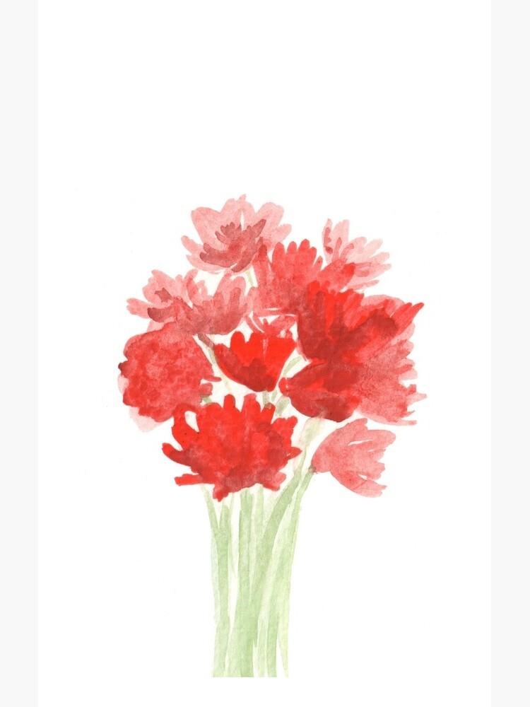 Red Azalea Flower Bouquet original watercolor painting by jenofalltradesc