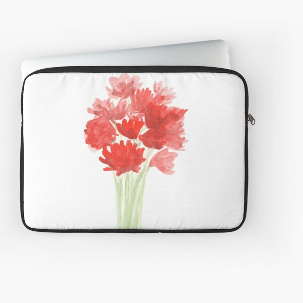 Red Azalea Flower Bouquet original watercolor painting Laptop Sleeve