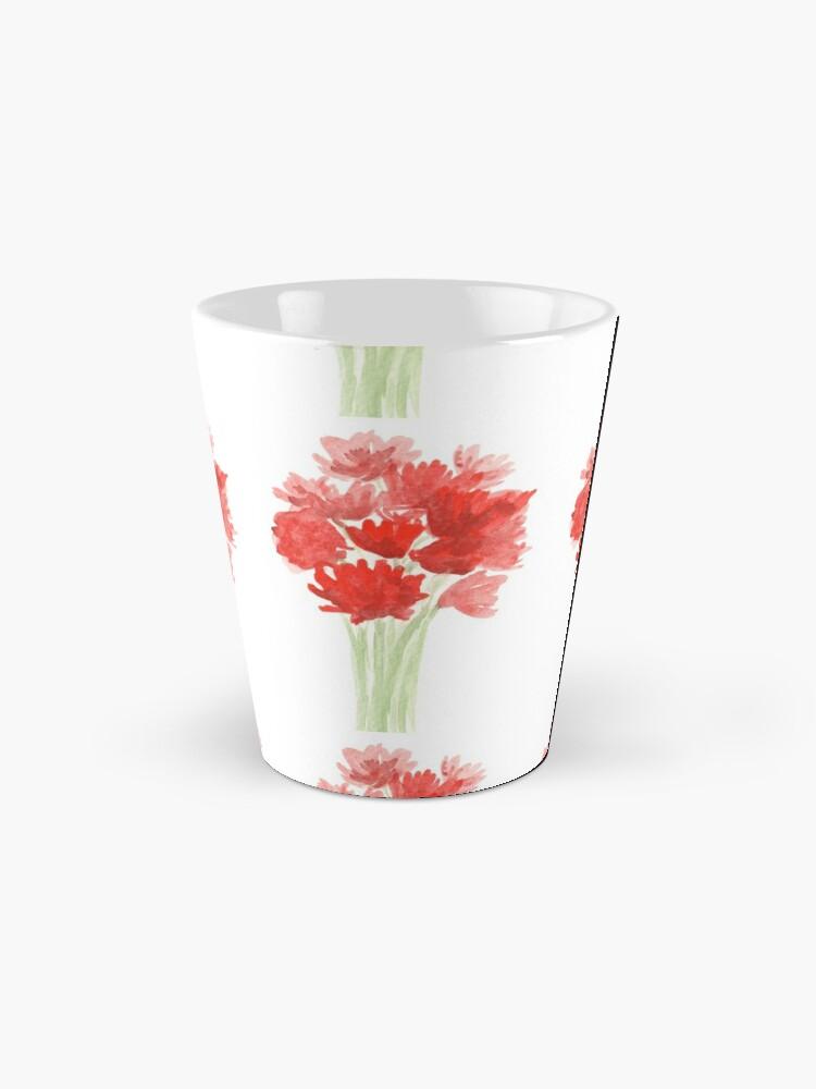 Alternate view of Red Azalea Flower Bouquet original watercolor painting Mug