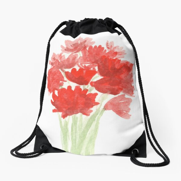 Red Azalea Flower Bouquet original watercolor painting Drawstring Bag