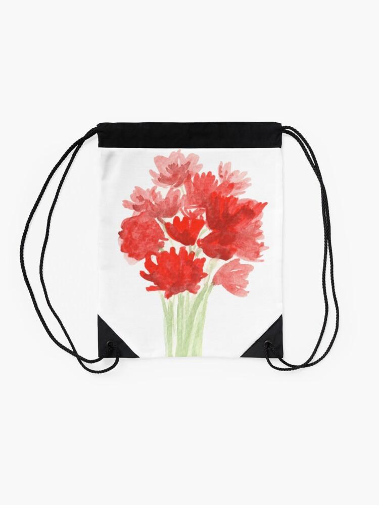 Alternate view of Red Azalea Flower Bouquet original watercolor painting Drawstring Bag