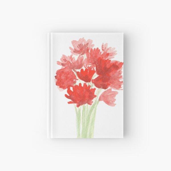 Red Azalea Flower Bouquet original watercolor painting Hardcover Journal